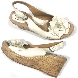 B.O.C White Floral Genuine Leather Slingback Wedge